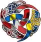 Scandi Norse 1 flag farver 1pixel sort kant bette